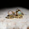 Moonlight Opal and Diamond Stud Post Earrings