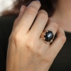 Black Star Sapphire Rose Gold and Diamond Ring