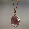 Large Pink Sapphire Nylon Cord Necklace