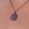Rose Cut Diamond and Sapphire Nylon Cord Necklace