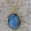 Oval Cabachon Labradorite Pendant (Chain Sold Separately)