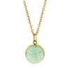 Green Tourmaline Round Cabachon Pendant (Chain Sold Separately)