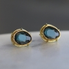Blue Gray Spinel 18k Gold Post Stud Earrings