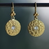 Vintage Hammered Gold and Diamond Earrings