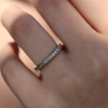 Vintage Platinum Square French Cut Diamond Eternity Band Ring