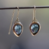 Blue Green Tourmaline Gold Earrings