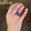 Blue Sapphire Silver and Rose Gold Ring