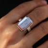 Kunzite Silver and Rose Gold ring