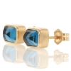 Inverted Faceted London Blue Topaz Stud Earrings