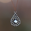 Diamond Slice Mosaic Teardrop Silver Necklace