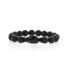 Black Matte Onyx Blackened Skull Bracelet Womens Version Image