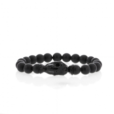 Black Matte Onyx 8mm Blackened Skull Womens Bracelet