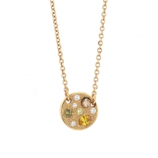 Multi Color Diamond 18k Rose Gold Necklace