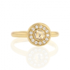 18k Rose Cut Gold Diamond Ring Image