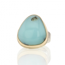 Peruvian Opal Silver and Gold Ring Image