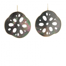 Large Lotus Root Black Mother of Pearl 14k Earrings Image