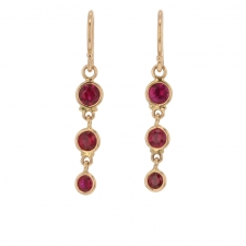 Rose Gold Ruby Triple Drop Earrings Image