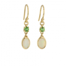 Opal and Green Garnet Drop Earrings