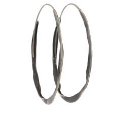 Large Crinkle Brushed Silver Hoops Image
