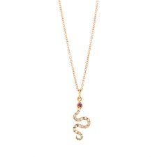 Little Snake Diamond Rose Gold Necklace