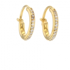 Midi Yellow Gold Hoops with Diamonds Image