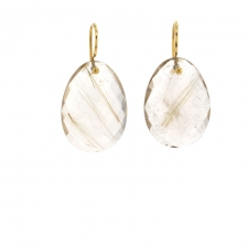 Large Faceted Rutilated Quartz Earrings