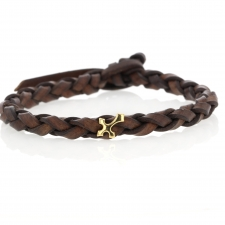 Braided Brown Leather Bracelet with Gold Cross Image