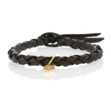 Braided Grey Leather Bracelet with Gold Diamond Charm Image