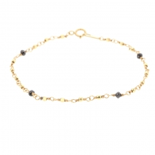 Faceted Yellow Gold Bracelet with Black Diamonds Image