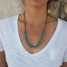 Long Turquoise Rosette Holder Leather Necklace Image