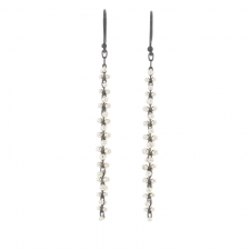 Long Cluster Blackened Silver and Silver Cluster Earrings Image