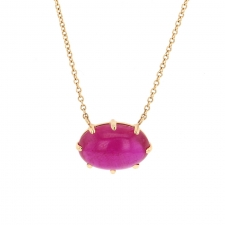 Ruby Gold Prong Necklace