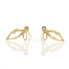Double Leaf Diamond Gold Studs