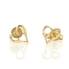 Hammered Heart 14k Gold Studs Image