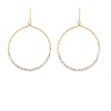 Large Round Gold and Silver Bead Earrings