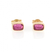 Small Pink Tourmaline Rectangle Stud Earrings
