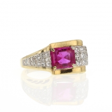 Ruby and Diamond 14k Yellow Gold Ring Image