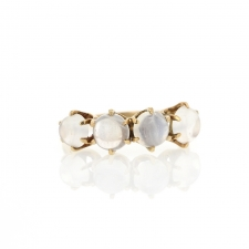 Four Round Moonstone Gold Ring