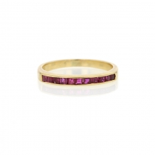 18k Yellow Gold Channel Set Ruby Band Image