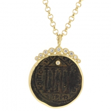 Large Ancient Romain Coin Long Necklace with Diamond Crown