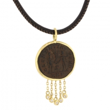 Constantine Ancient Roman Coin Leather Necklace Image