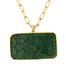 Carved Emerald Gold Necklace Image