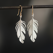 Large Silver Feather Earrings Image