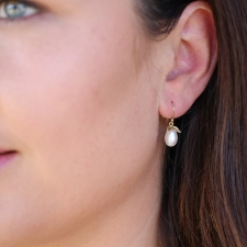 White Pearl Pear Gold Earrings Image