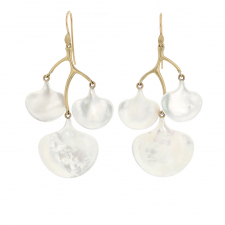 Mother of Pearl Ginko Branch Gold Earrings Image