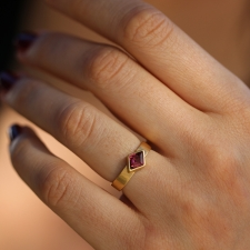 Diamond Shape Rhodochrosite Thin Cigar Band Ring Image