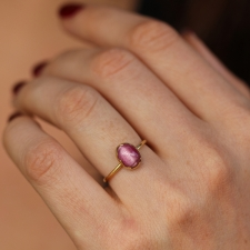 Pink Cats Eye 18k Gold Egg Ring Image