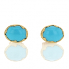 Turquoise 18k Egg Stud Earrings