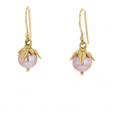 Lavender Pearl Gold Berry Earrings Image