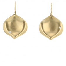 Medium Gold Rose Petal with Diamond Earrings Image